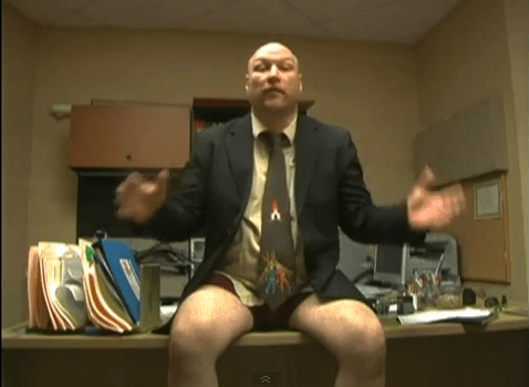 Jud Cohen of Work with No Pants soliciting applications for his fictional company.